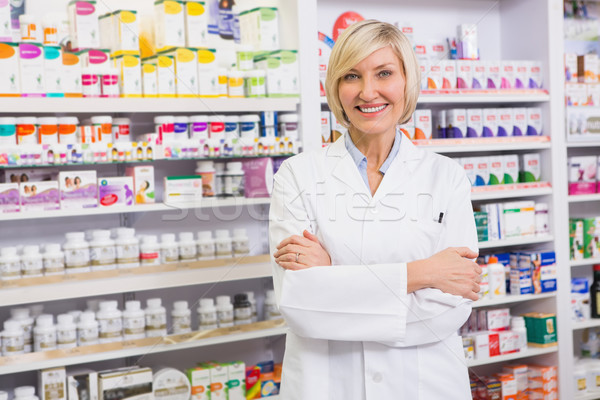 Farmaceuta uśmiechnięty kamery apteki Zdjęcia stock © wavebreak_media