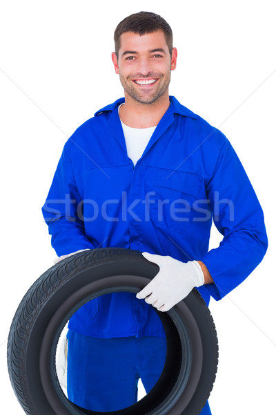 Mecânico pneu branco retrato sorridente Foto stock © wavebreak_media