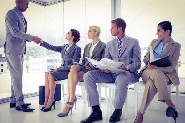 Iş adamları bekleme görüşme ofis adam takım elbise Stok fotoğraf © wavebreak_media