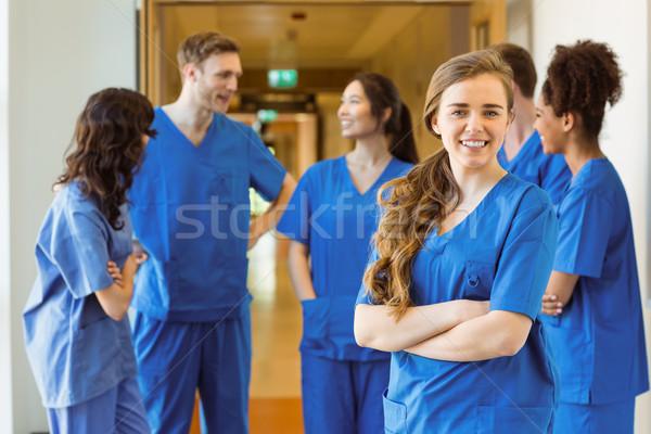 медик улыбаясь камеры университета счастливым медицинской Сток-фото © wavebreak_media