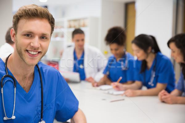медик улыбаясь камеры класс университета человека Сток-фото © wavebreak_media