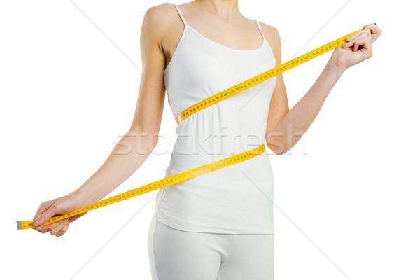 Karcsú nő mér derék fehér női Stock fotó © wavebreak_media
