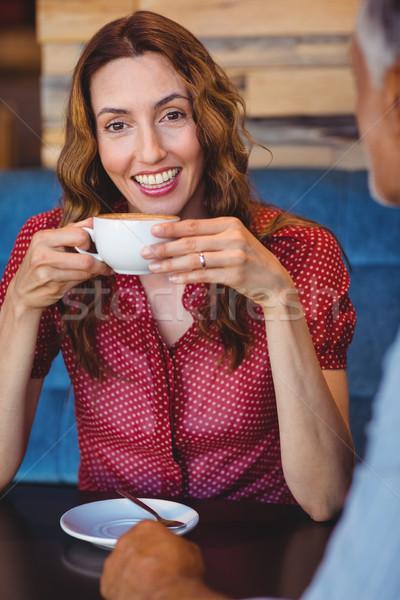 Stockfoto: Cute · paar · koffie · samen · cafe · vrouw