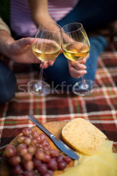 Paar wijnglazen druiven kaas picknickdeken Stockfoto © wavebreak_media
