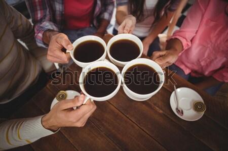 Arkadaş kahve fincanları birlikte restoran adam Stok fotoğraf © wavebreak_media