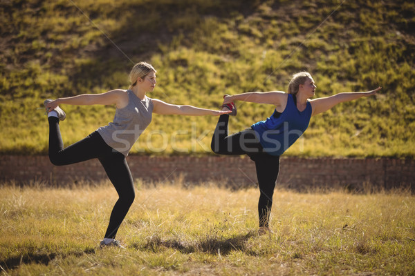 Beautiful women praising yoga during obstacle course Stock photo © wavebreak_media