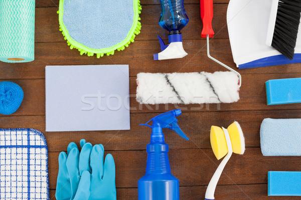 Különböző takarítás felszerlés fapadló közelkép ház Stock fotó © wavebreak_media