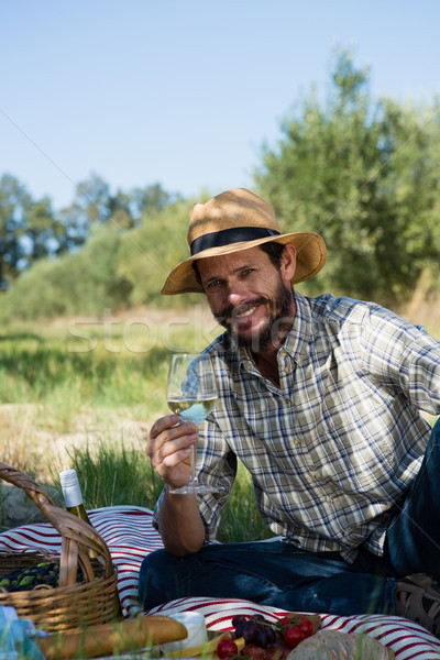 Portrait of man sitting with a glass of wine on picnic blanket Stock photo © wavebreak_media