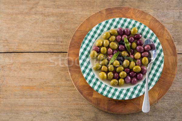 マリネ オリーブ ハーブ 木板 クローズアップ 食品 ストックフォト © wavebreak_media