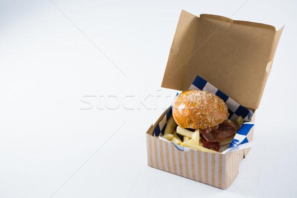ハンバーガー フライドポテト ボックス 表 青 ストックフォト © wavebreak_media