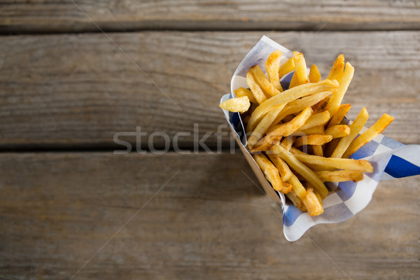 мнение картофель фри воск бумаги контейнера таблице Сток-фото © wavebreak_media