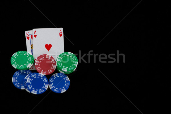 Cartes puces blackjack jeu noir Photo stock © wavebreak_media