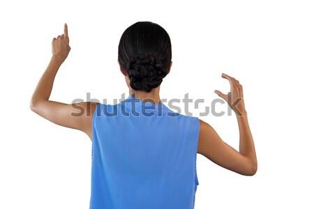 вид сзади деловая женщина прикасаться интерфейс что-то Сток-фото © wavebreak_media