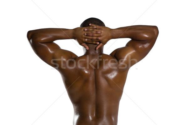 背面図 シャツを着ていない スポーツマン 手 後ろ 頭 ストックフォト © wavebreak_media