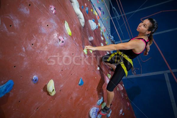 Frau Klettern Fitness Studio bestimmt Stock foto © wavebreak_media