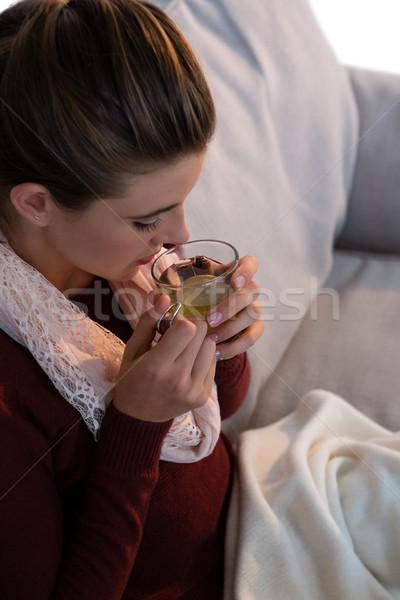 Vue femme citron thé séance Photo stock © wavebreak_media