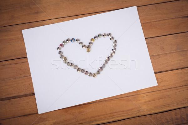мнение бумаги формы сердца деревянный стол любви Сток-фото © wavebreak_media