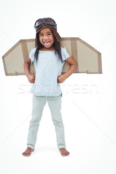 Постоянный девушки поддельный крыльями экспериментального белый Сток-фото © wavebreak_media