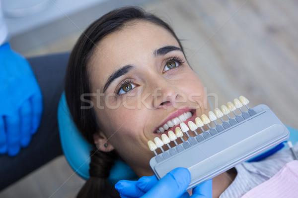 Fogorvos tart orvosi felszerelés megvizsgál nő kilátás Stock fotó © wavebreak_media