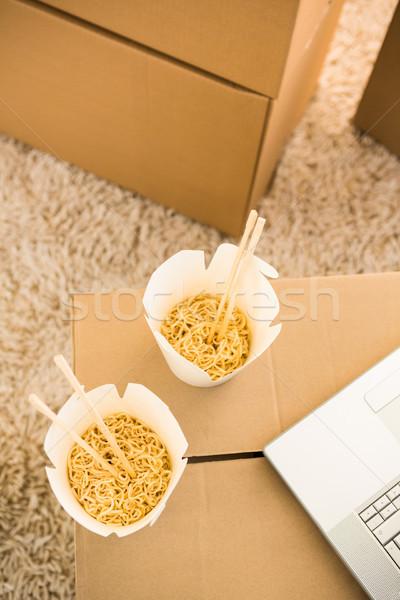 Kettő fehér tészta dobozok laptop billentyűzet Stock fotó © wavebreak_media