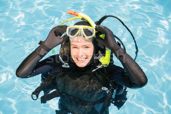 Genç kadın skuba eğitim portre yüzme havuzu yüzme Stok fotoğraf © wavebreak_media