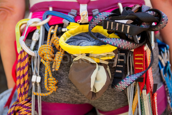 Tırmanma kadın doğa halat Stok fotoğraf © wavebreak_media