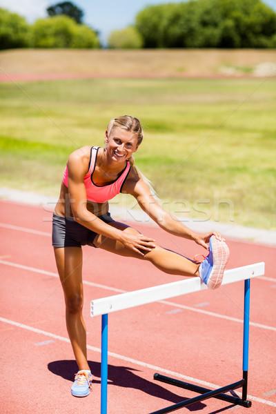 Portre kadın atlet yukarı stadyum Stok fotoğraf © wavebreak_media