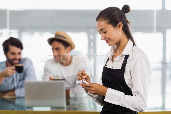 Garson sipariş kafe gülen kadın Stok fotoğraf © wavebreak_media