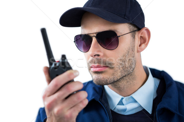 Bonito segurança oficial falante homem diversão Foto stock © wavebreak_media