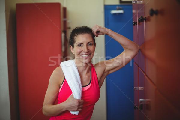 женщину Постоянный спортзал раздевалка тренировки портрет Сток-фото © wavebreak_media