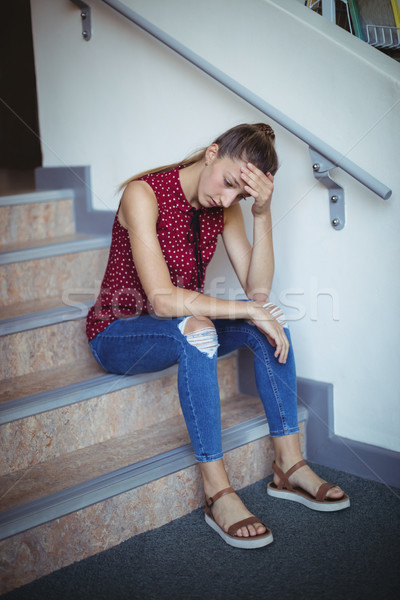 печально школьница сидят только лестница школы Сток-фото © wavebreak_media