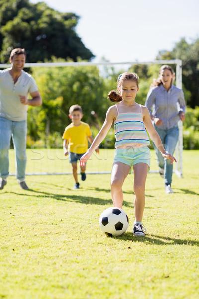 家族 演奏 サッカー 一緒に 公園 幸せな家族 ストックフォト © wavebreak_media