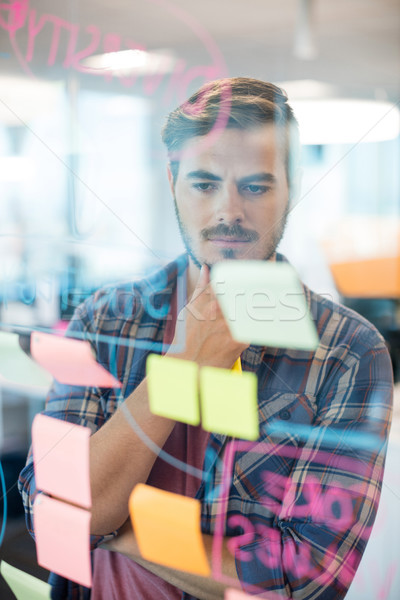 Thoughtful man reading sticky notes on the glass wall Stock photo © wavebreak_media