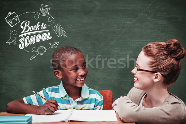 Stock photo: Composite image of happy pupil and teacher