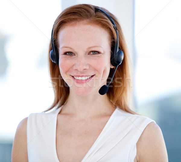 銷售 代表 女子 耳機 白 商業照片 © wavebreak_media