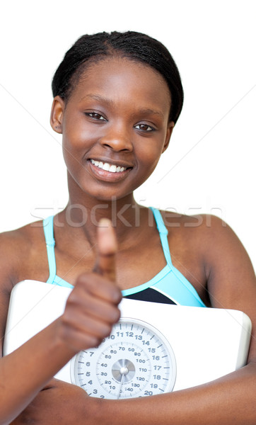очаровательный Фитнес-женщины большой палец руки вверх веса Сток-фото © wavebreak_media