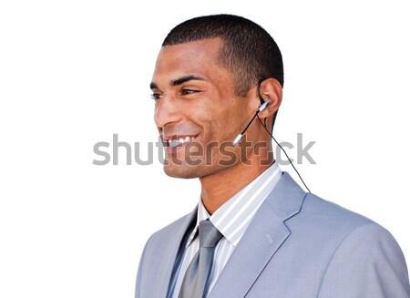Sorridente empresário fone branco escritório internet Foto stock © wavebreak_media