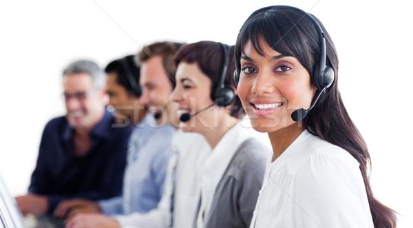 Charismatische klantenservice hoofdtelefoon call center computer gelukkig Stockfoto © wavebreak_media