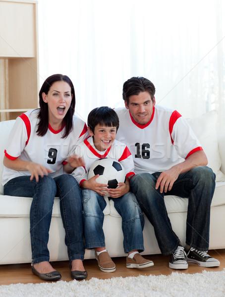 родителей сын смотрят футбола матча домой Сток-фото © wavebreak_media