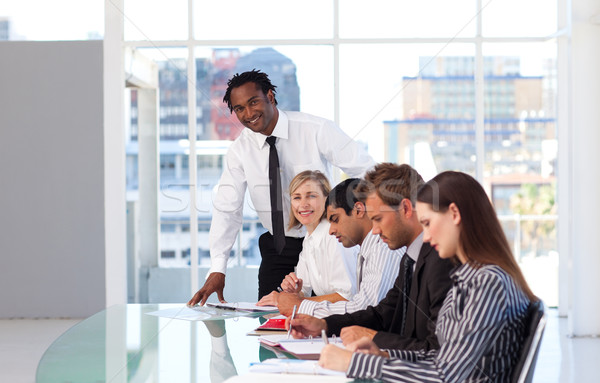 Stockfoto: Leiderschap · werken · team · kantoor · telefoon · vergadering
