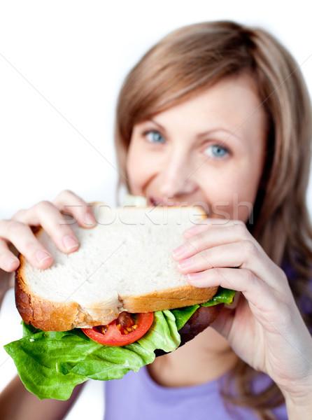 Mujer sonriente sándwich blanco casa salud Foto stock © wavebreak_media