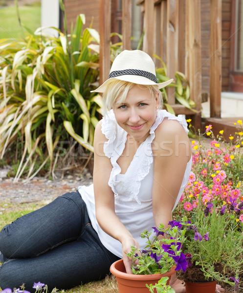 Foto stock: Retrato · sorrindo · seis · jardim · flor · feliz