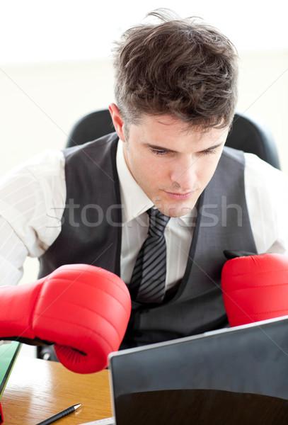 Ambiciózus üzletember visel boxkesztyűk iroda üzlet Stock fotó © wavebreak_media