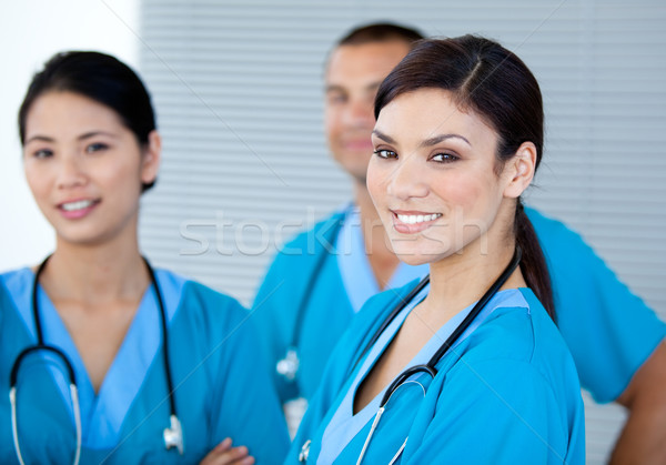 Happy doctor colleagues looking at the camera in the hospital Stock photo © wavebreak_media
