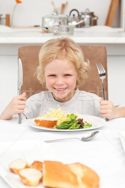 Portrait peu garçon prêt manger pâtes Photo stock © wavebreak_media