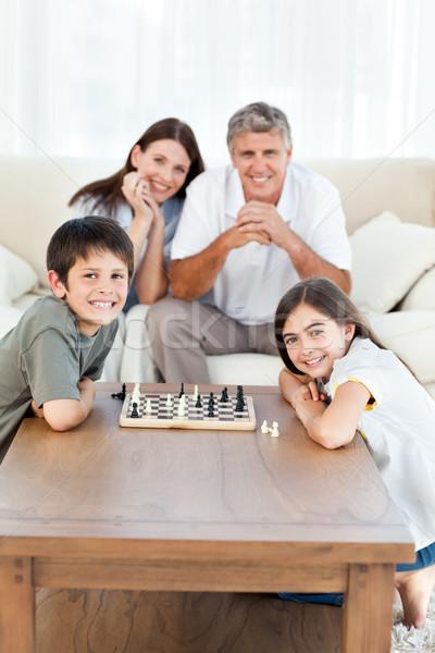 Foto stock: Retrato · pequeño · familia · salón · casa · mujer