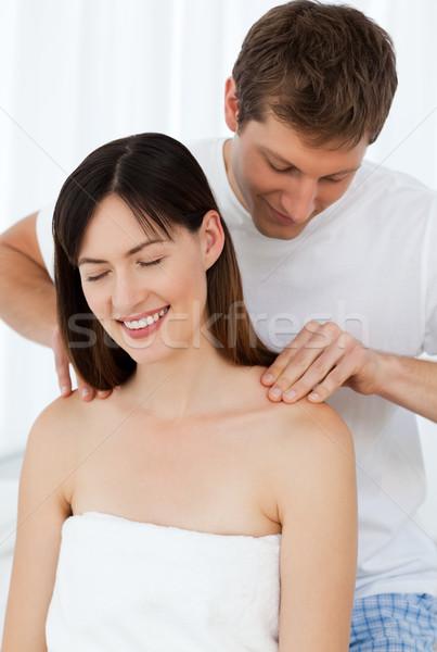 Man massage vrouw home vrouw liefde Stockfoto © wavebreak_media