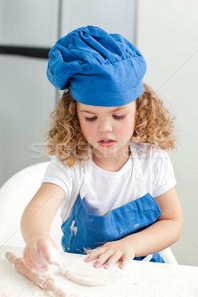 ストックフォト: 女の子 · キッチン · ホーム · 家 · 少女