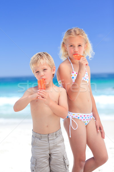 Brother and sister eating an ice cream Stock photo © wavebreak_media