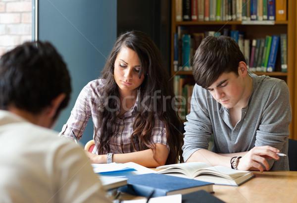 Diákok könyvtár iskola boldog diák dolgozik Stock fotó © wavebreak_media